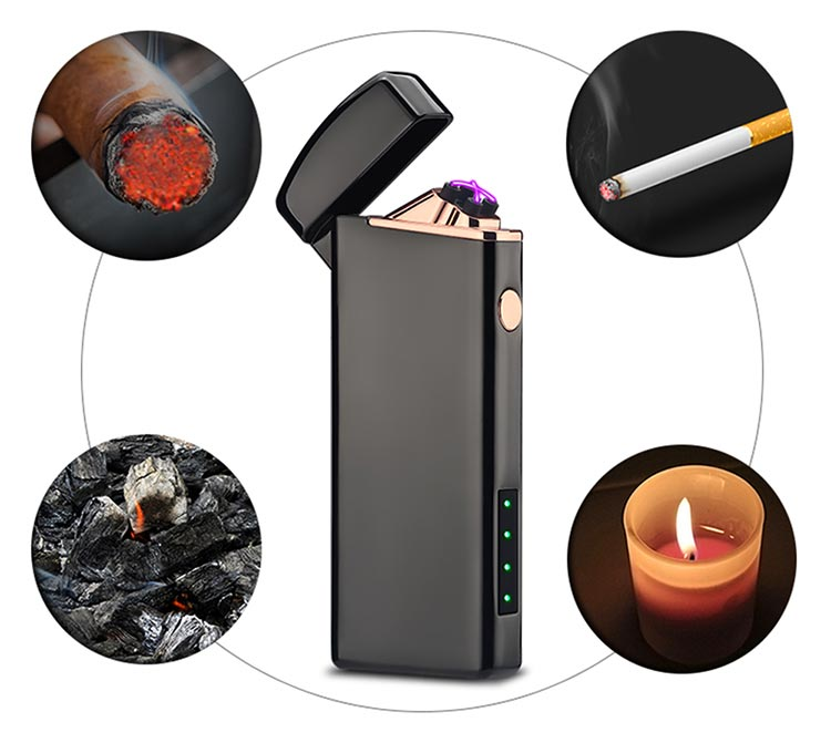 Metal USB Rechargeable Electric Lighter Windproof Flameless Dual Arc Electronic Cigarette Lighters
