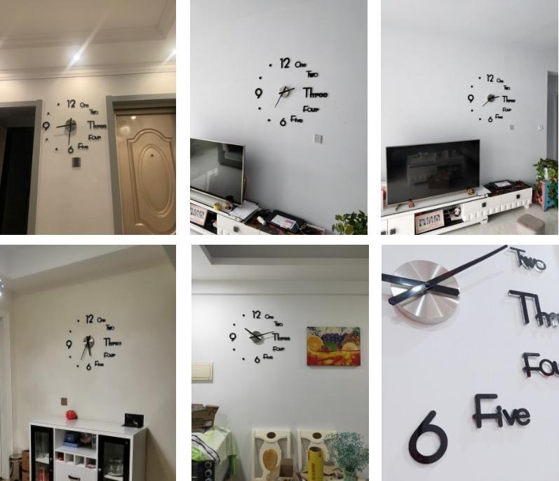 Đồng hồ dán tường kết hợp chữ và số đẹp mắt 3D 3