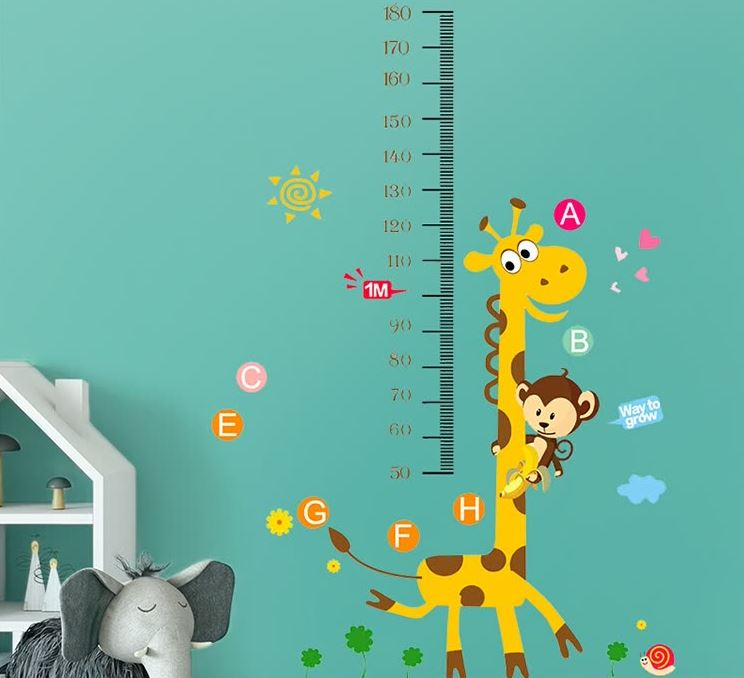 Ink Fish Height Sticker Cartoon Giraffe Monkey Tree 2562 Children's Room Wallpaper Dormitory Baby Decorative Wallpaper Sticker Wall Sticker Self-adhesive Bedroom Measuring Height Sticker Removable