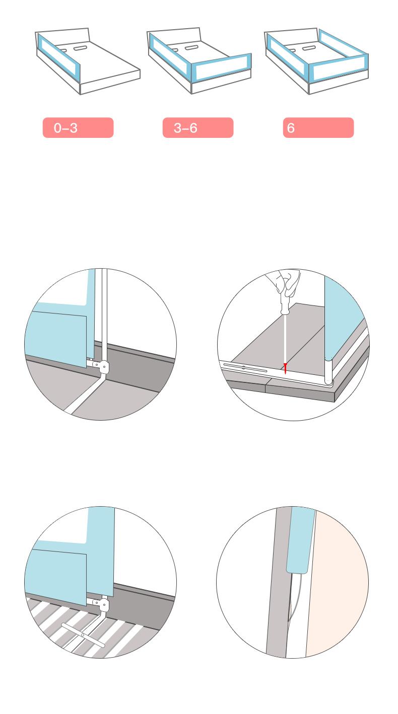 Chắn giường bảo vệ Bé mẫu mới nhất 2020 Màu Kem vui nhộn, số lượng 01 thanh- tặng gói khăn sữa cao cấp 4