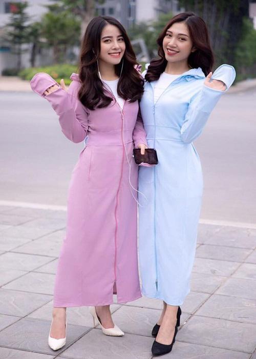Áo chống nắng nữ liền thân, vải dày, dài tới gót chân, chống tia UV 2