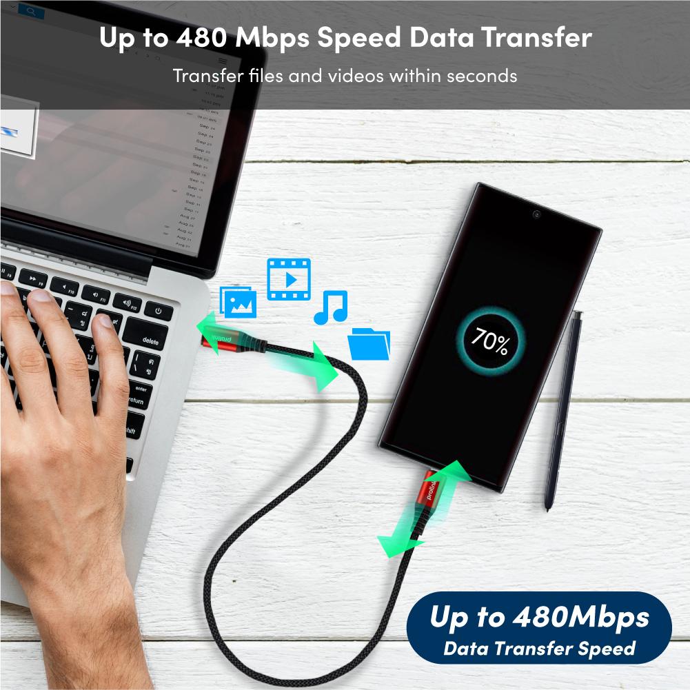 Cáp sạc siêu nhanh Prolink 60W USB-C to USB-C