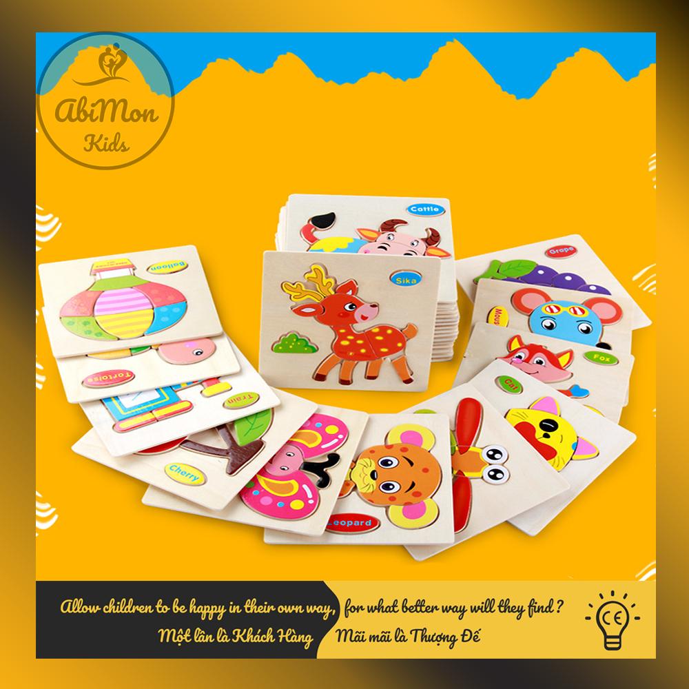 Tranh Ghép Hình Gỗ 3D Cho Bé (15x15 cm) Montessori cao cấp Đồ chơi Gỗ - Giáo dục - An toàn - Thông minh 6