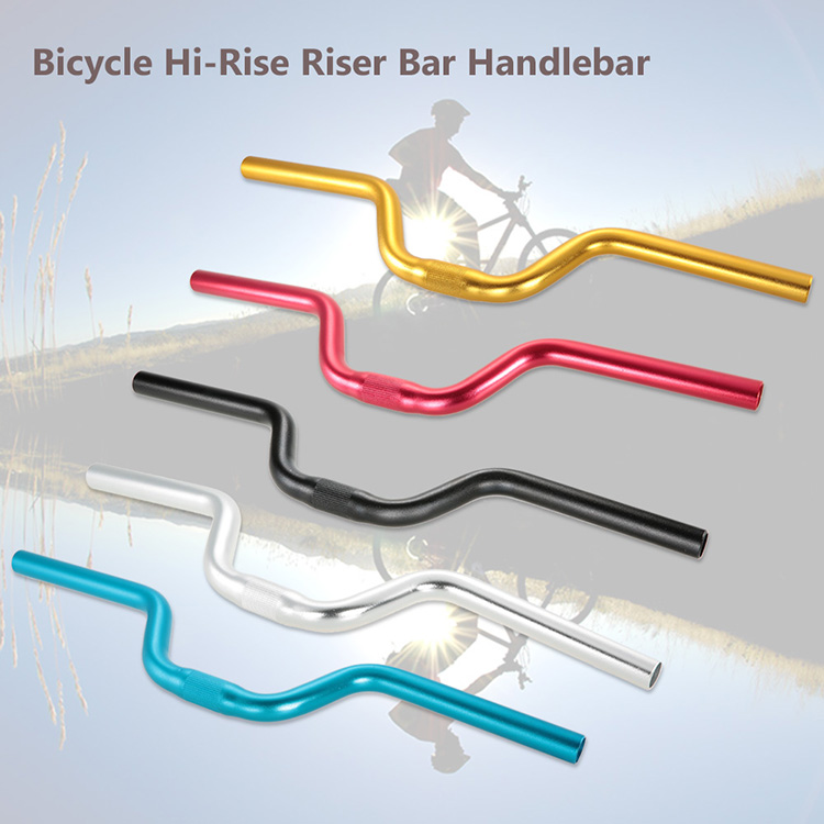 25.4*520mm Cycling Bicycle Handlebar MTB Mountain Bike Aluminum Alloy Riser Handlebar Road Bike Fixie Bicycles Riser Bar - Gold
