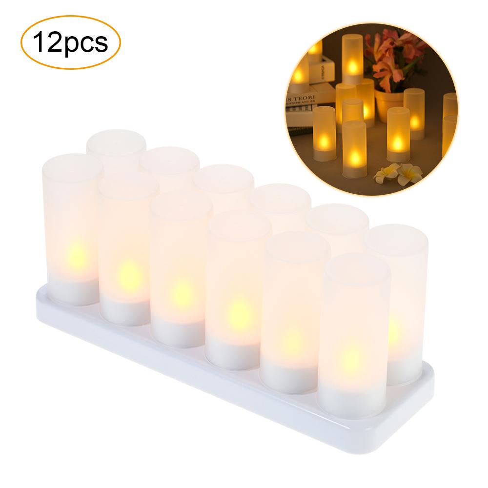 Bộ 12 Đèn LED Vàng Nhấp Nháy Hình Ngọn Nến (5V)