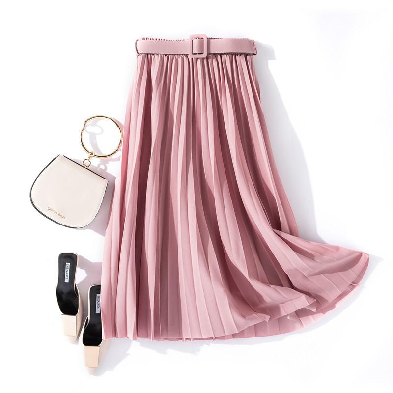 Chân váy xếp ly dáng dài có đai chất vải không nhăn Free size (VAY36) 2