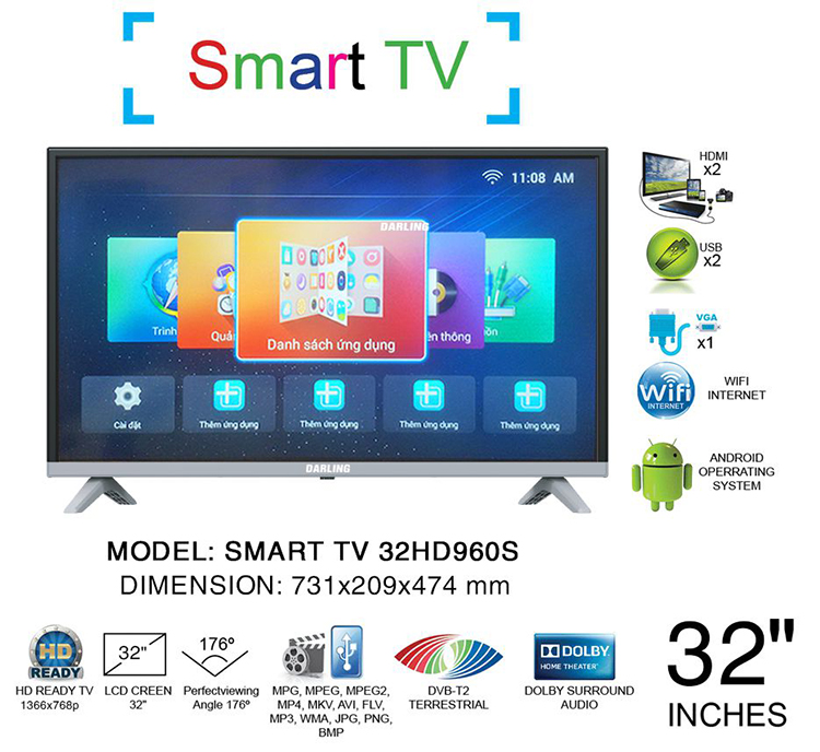 Smart Tivi Darling 32 inch Full HD 32HD960S