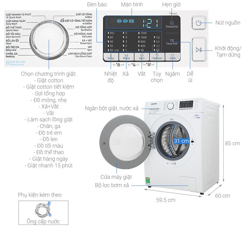Máy Giặt Cửa Trước Inverter Samsung WW80J52G0KW/SV (8kg) - Hàng Chính Hàng - Chi Giao tại HCM