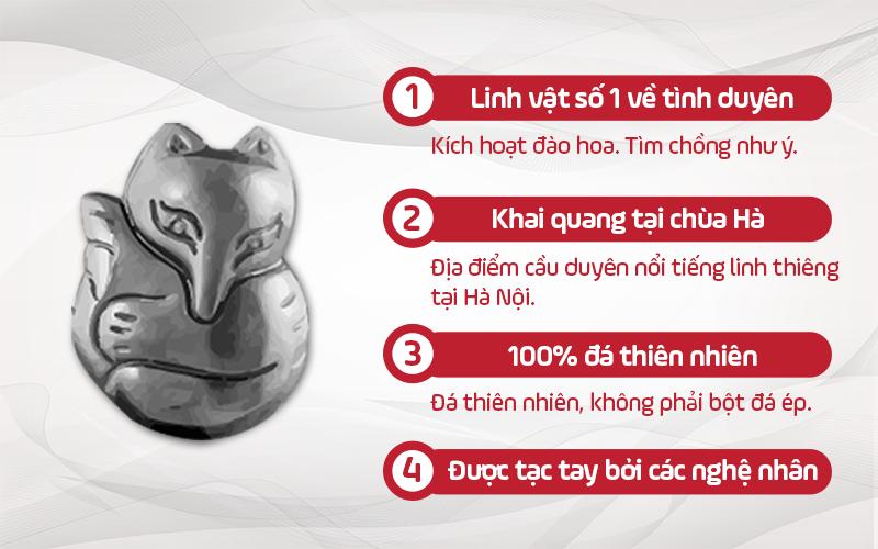 Có Khai Quang -  Mặt Hồ Ly Ôm Hoa Mẫu Đơn Đá Onyx -  Tình Duyên, Tài Lộc, Bình An (Tặng Kèm Dây Đeo + Túi Nhung Đỏ bảo quản sản phẩm)