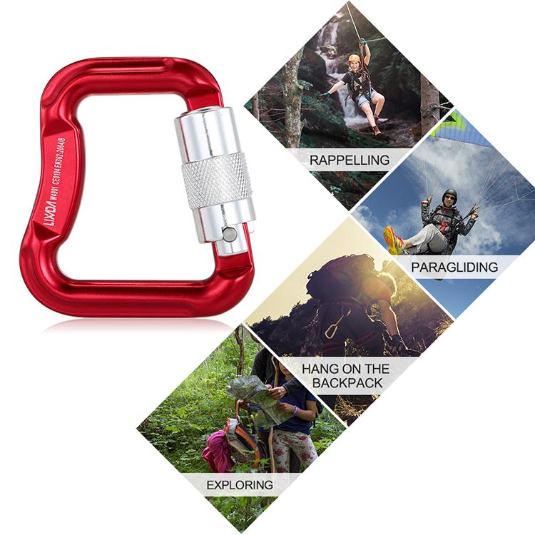 Lixada Outdoor Safety Rock Climbing Equipment Master Hook 20KN Paragliding Paraglider Parachute Clip Locking Carabiner