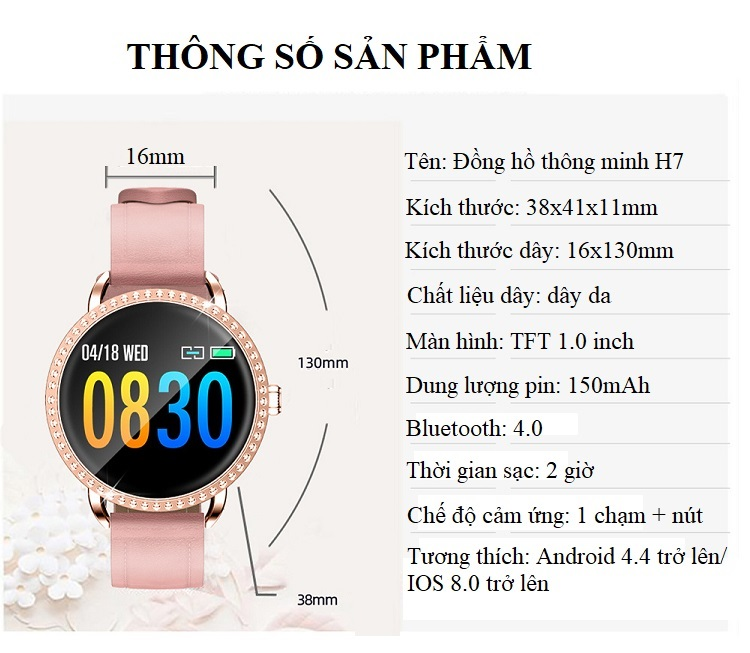 Đồng hồ theo dõi sức khỏe H7 (chống nước IP67) 19