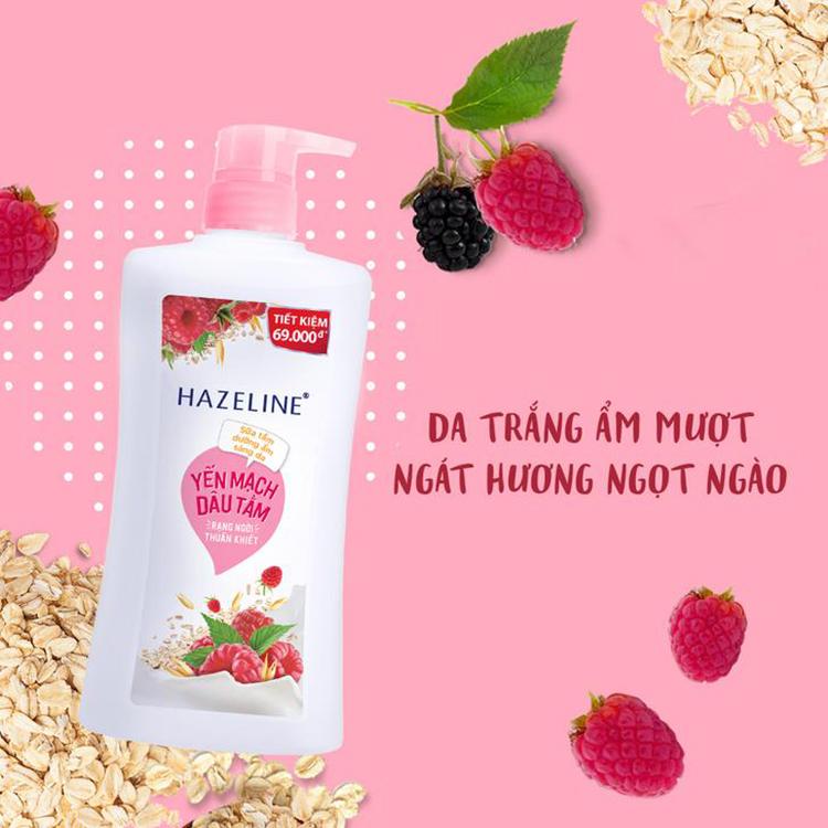 Sữa Tắm Hazeline Sáng Mịn Đều Màu Yến Mạch Và Dâu Tằm (Túi 1kg)