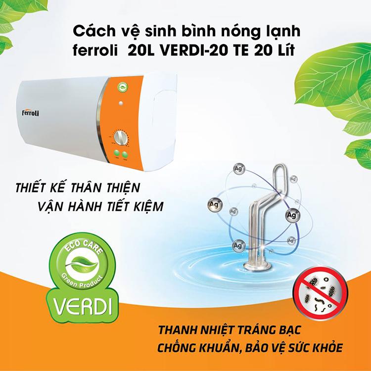 Bình nước nóng Ferroli Verdi TE 20L công suất 2500W (Máy nước nóng) - Hàng Chính Hãng