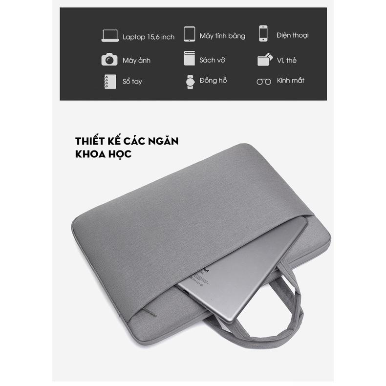 Túi đựng Laptop, túi xách Macbook dành cho công sở, văn phòng, chống nước, đựng vừa laptop 15,6 inch, nhiều ngăn 5