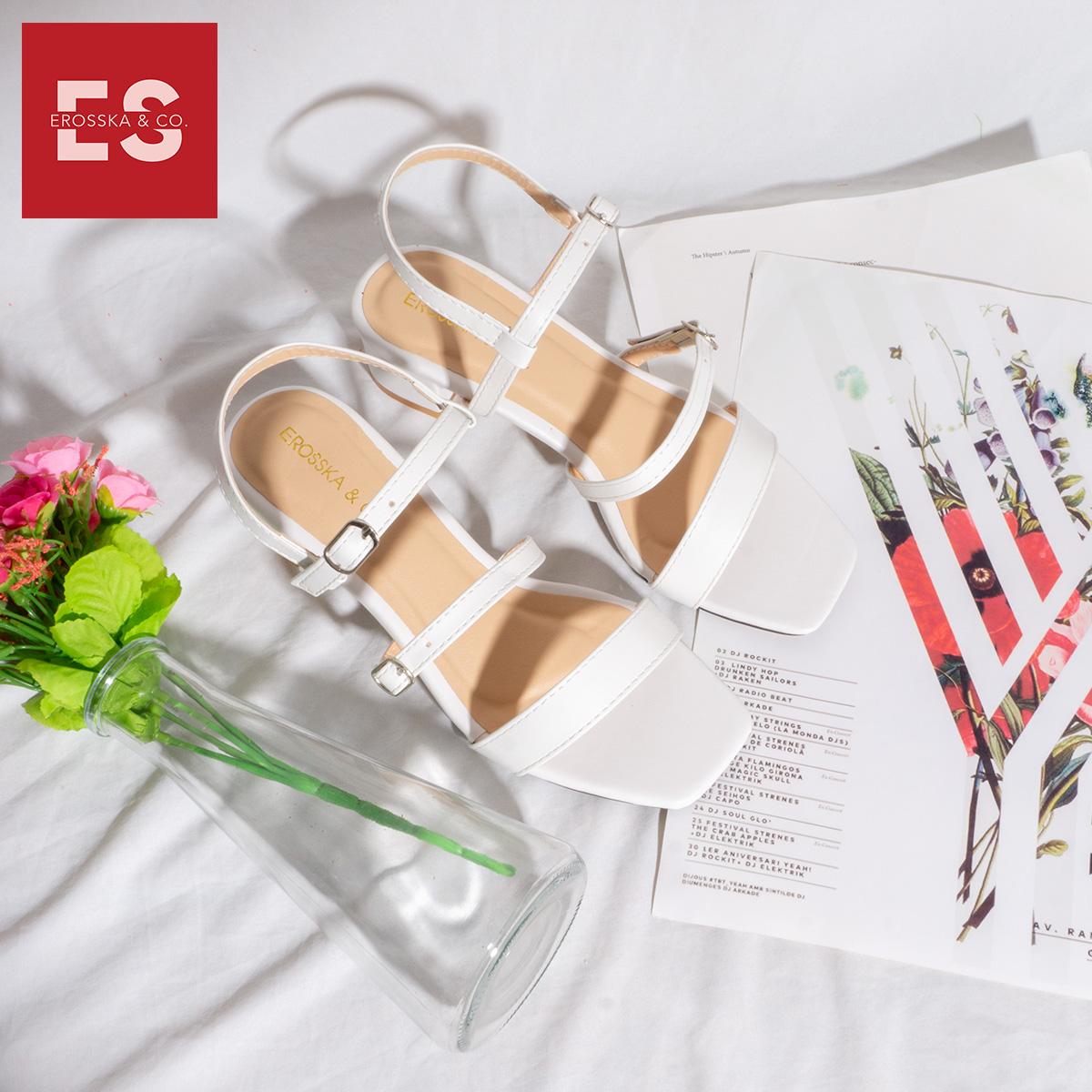 Gia y sandal cao gót Erosska thơ i trang mũi vuông phô i dây quai ma nh cao 3cm EB018 5