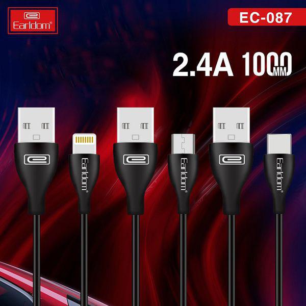 Dây Cáp Sạc Earldom 1M chân Micro - Type C - Lightning EC-087 -HÀNG CHÍNH HÃNG 100% (Giao màu ngẫu nhiên) 1