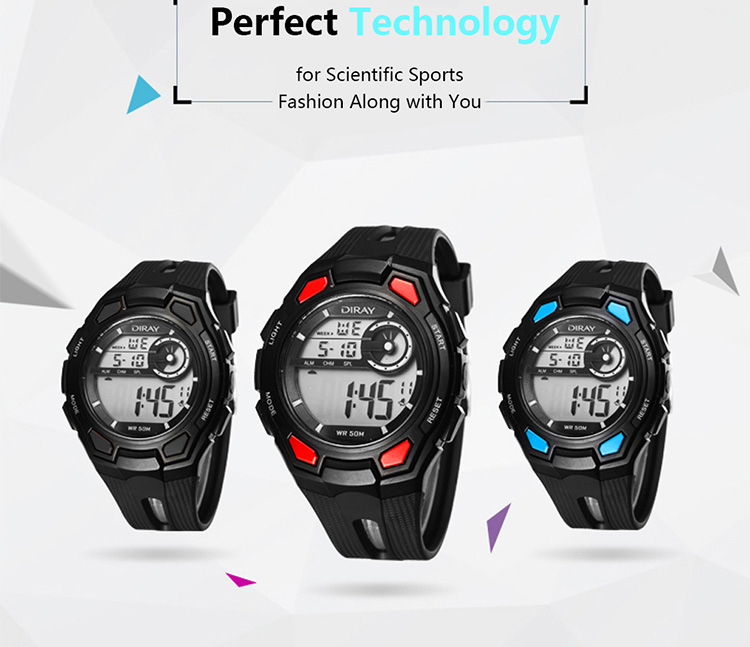 DIRAY 50M Water-resistant Large Dial Digital Men Watches Sport Wristwatches Luminous Military Relogio Masculino