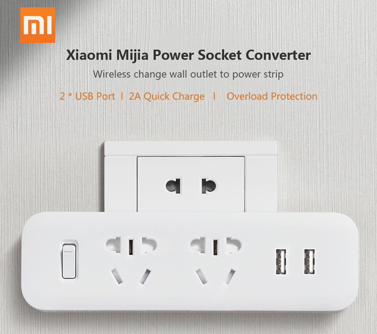 Xiaomi Mijia On-Wall Power Strip Converter Socket Portable Plug Adapter with 2 USB Quick Charge Port Plug Outlet Switch