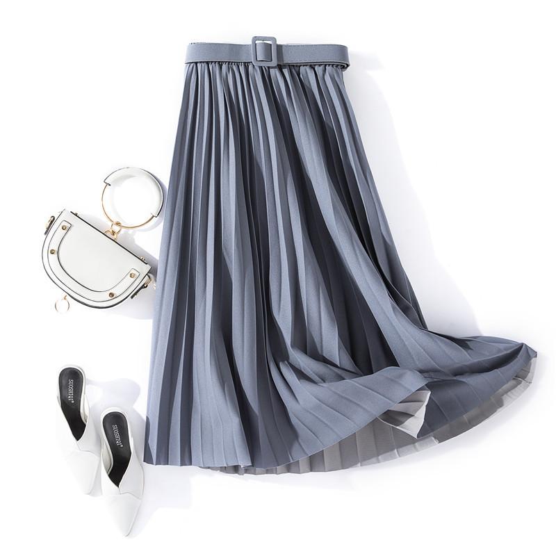 Chân váy xếp ly dáng dài có đai chất vải không nhăn Free size (VAY36) 4