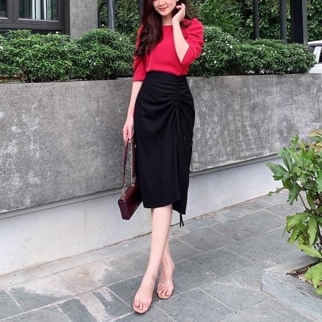 Chân váy bút chì dài qua gối sang trọng, thích hợp mặc đi làm hoặc dự tiệc 2