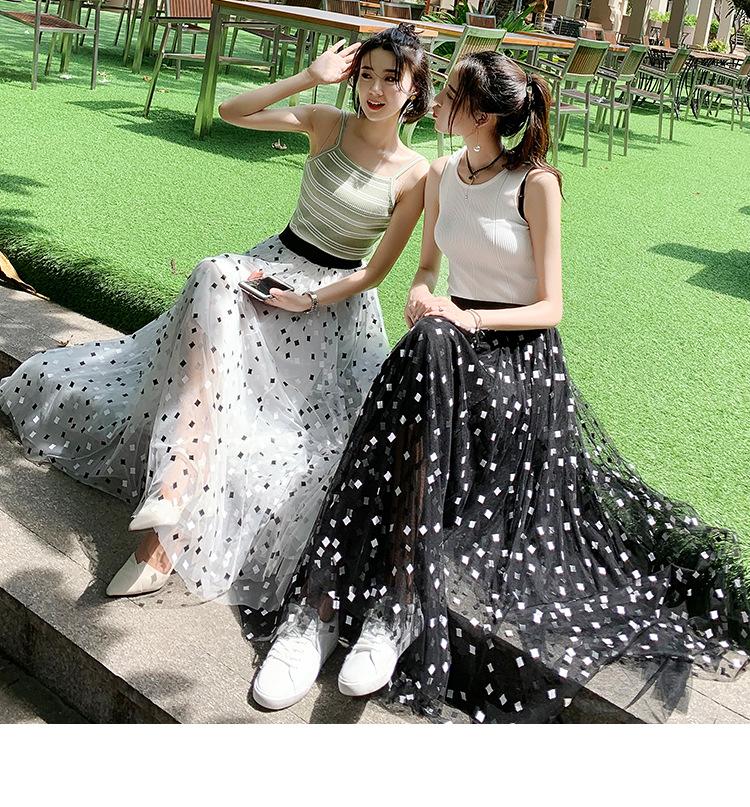 Chân váy lưới tutu dáng dài họa tiết ô vuông free size VAY62 4
