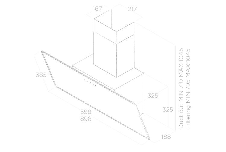 Máy Hút Mùi Dạng Kính Nghiêng Elica SHIRE BL/A/90 ( No Filter) (90cm) - Hàng Chính Hãng