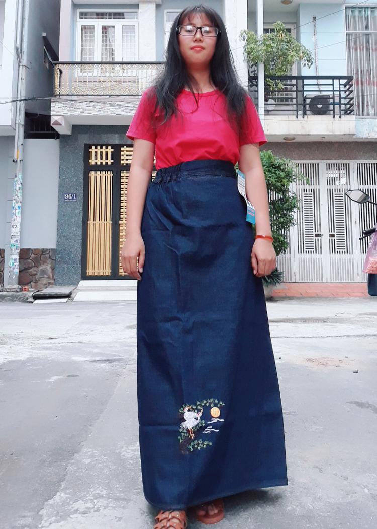 Váy Chống Nắng Jean Nữ Cao Cấp Thêu Trăng Và Cò