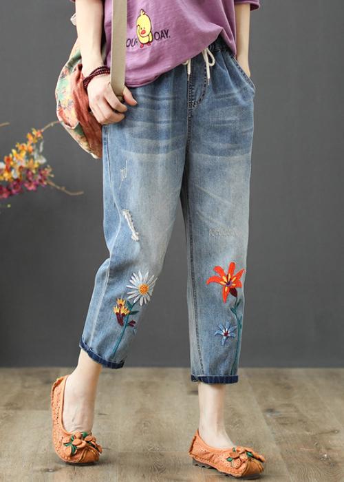 Quần jean bò ngố baggy thêu hoa cúc họa mi chất vải mềm thoáng QB17 2