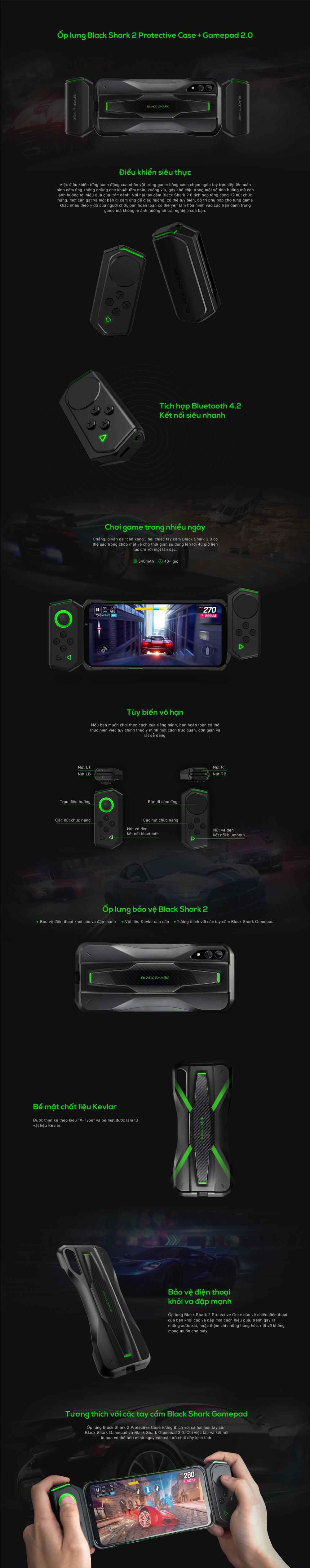Black Shark 2 Pro Kit (Ốp lưng + 2 Gamepad) - Hàng Chính Hãng