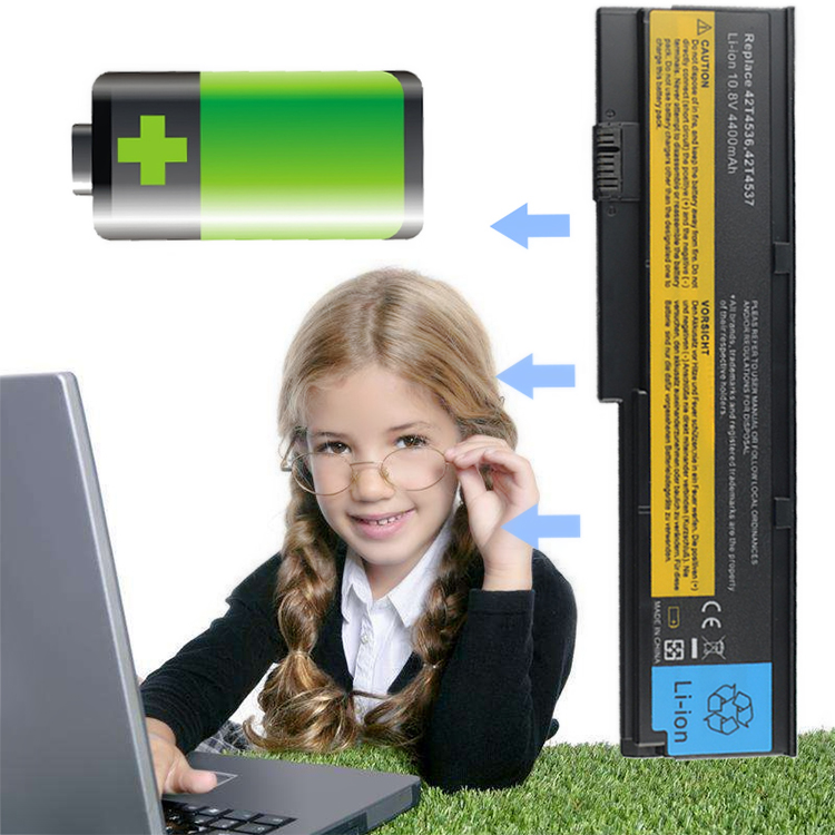 Computer Battery Laptop Battery Portable Black 4400mAh Replace Charging for Lenovo ThinkPad X200 X200s X201i
