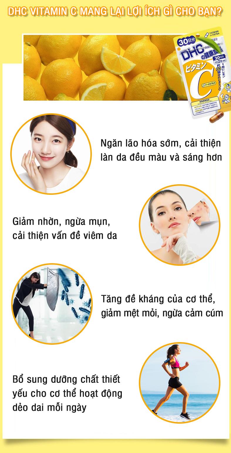 Combo SÁNG DA - MỜ THÂM DHC Nhật Bản gồm viên uống vitamin C và viên uống trắng da 30 ngày JN-DHC-CB1 12
