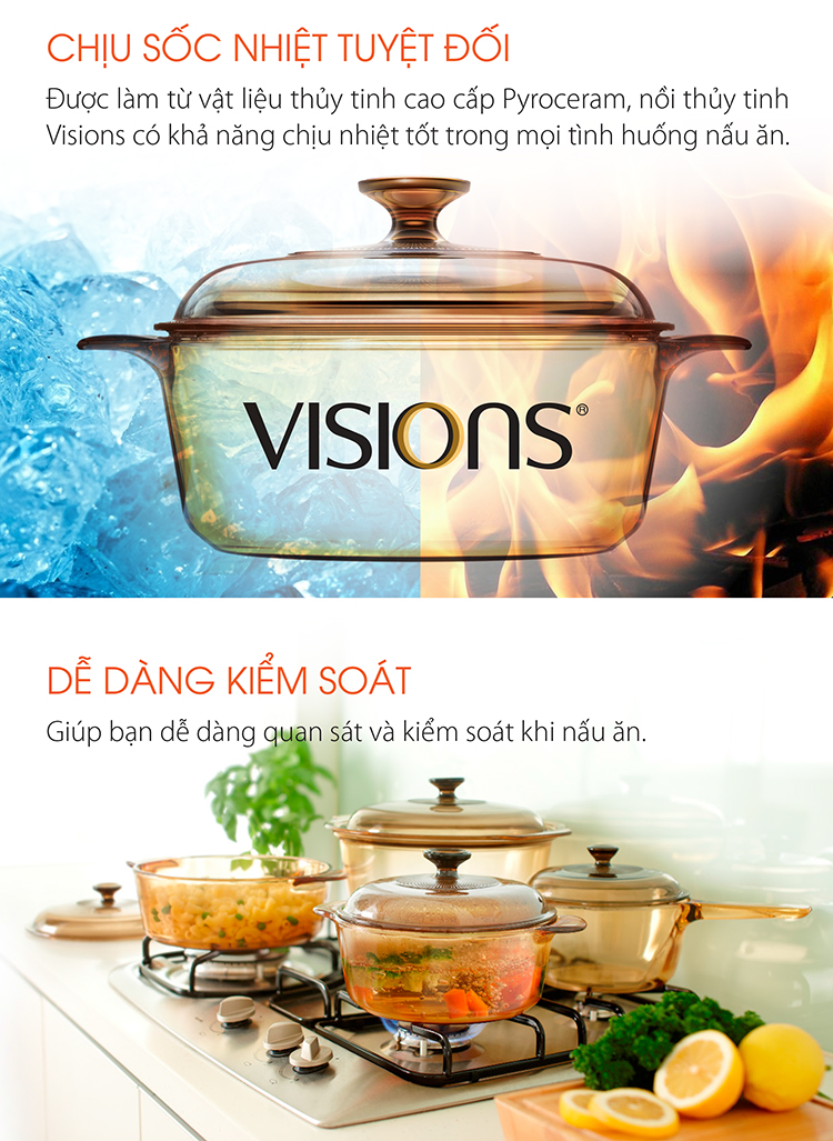 Bộ 5 Nồi Thủy Tinh Visions VS-339