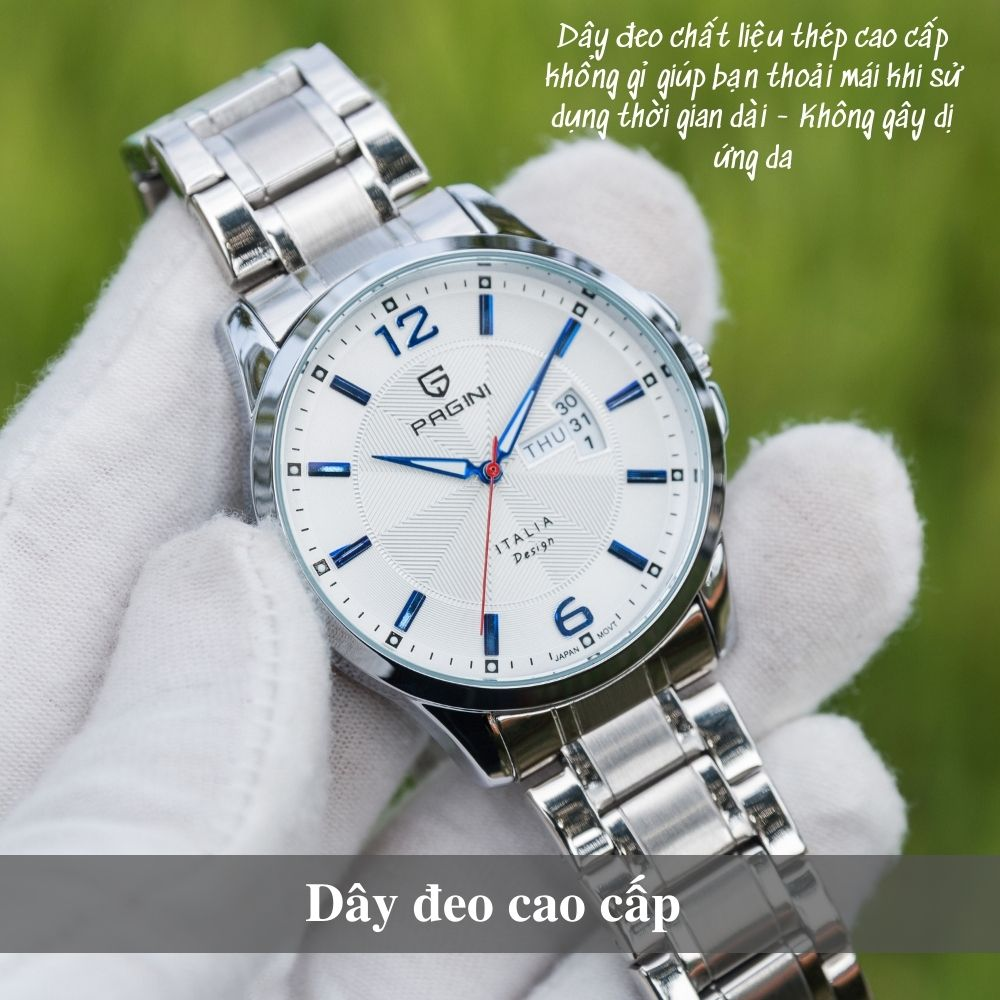 Đồng hồ nam PAGINI PA5533W dây thép không gỉ - Lịch ngày cao cấp 4