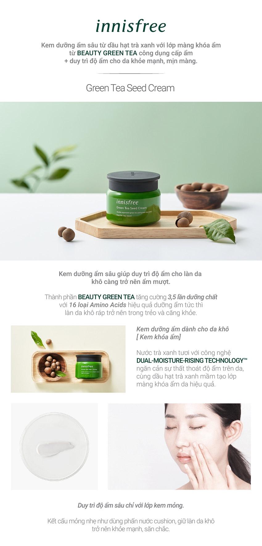Kem dưỡng cung cấp ẩm từ trà xanh và dầu hạt trà xanh tươi Innisfree Green Tea Seed Cream 50ml - NEW
