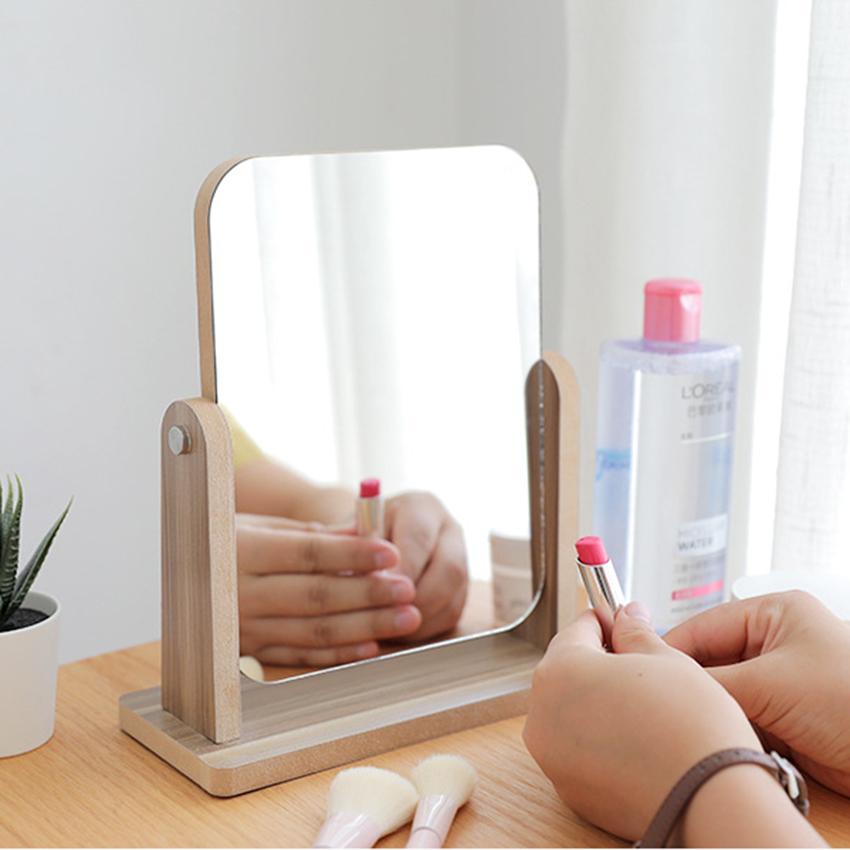 Gương trang điểm để bàn decor mini 13x18cm, xoay 360 độ, chất liệu gỗ ép thân thiện, sang trọng 1
