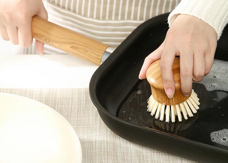 Jiayi bamboo round head pot brush kitchen cleaning brush