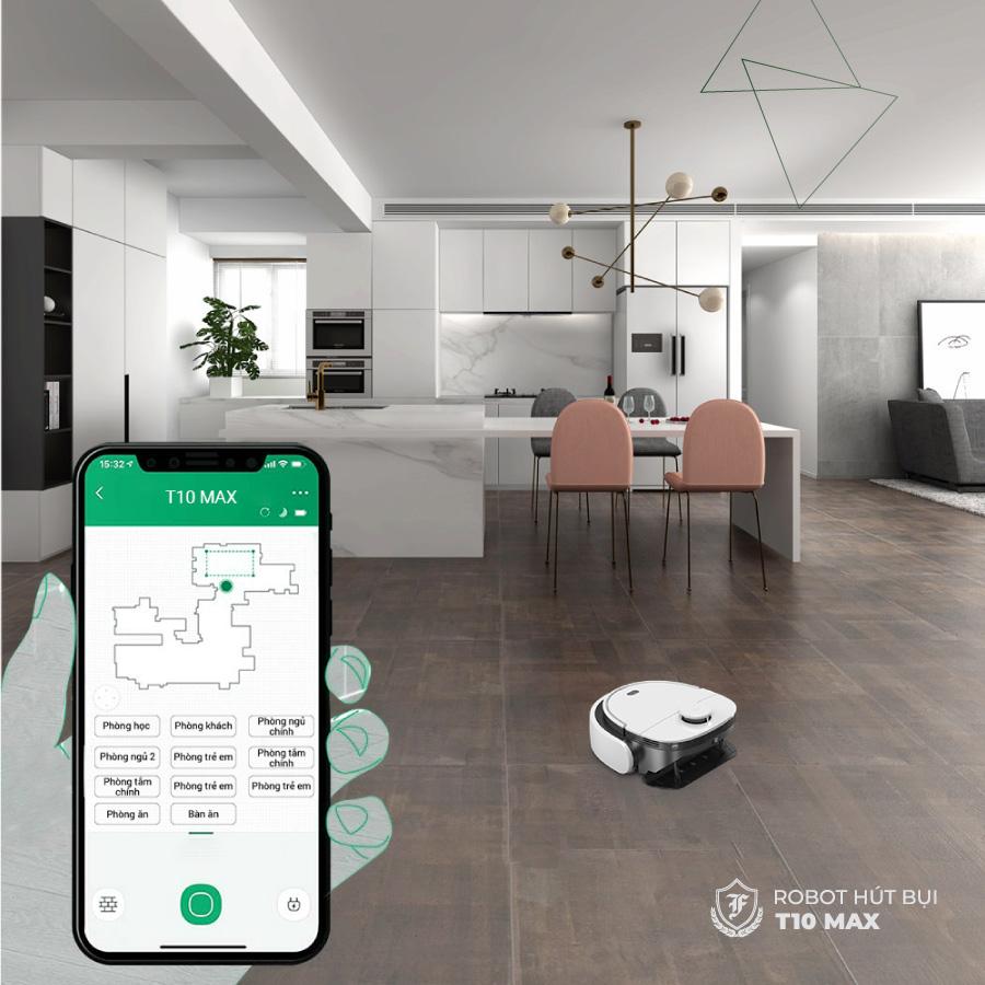 App điều khiển thông minh của Robot hút bụi lau nhà T10 Max khiến công việc dọn nhà trở nên dễ dàng hơn bao giờ hết