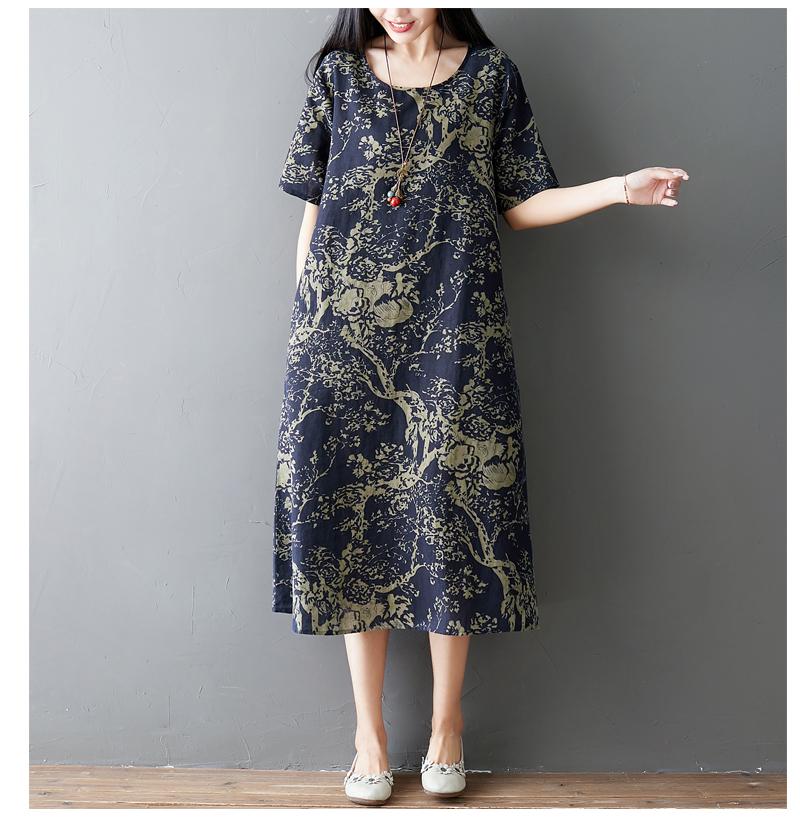 Đầm suông trung niên họa tiết LAHstore, chất thô mềm mát thích hợp mùa hè, phong cách Hàn Quốc (Xanh than họa tiết vàng) 3