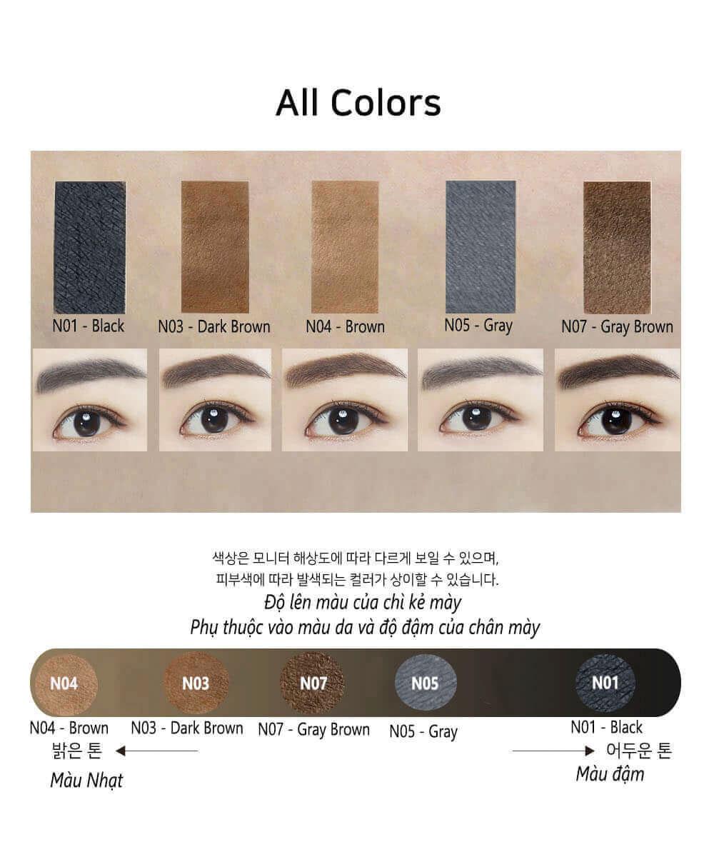 Combo bộ sản phẩm chì kẻ mắt và chì kẻ mày Hàn Quốc 3