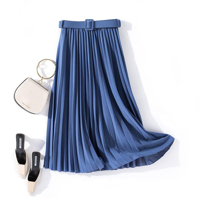 Chân váy xếp ly dáng dài có đai chất vải không nhăn Free size (VAY36) 5