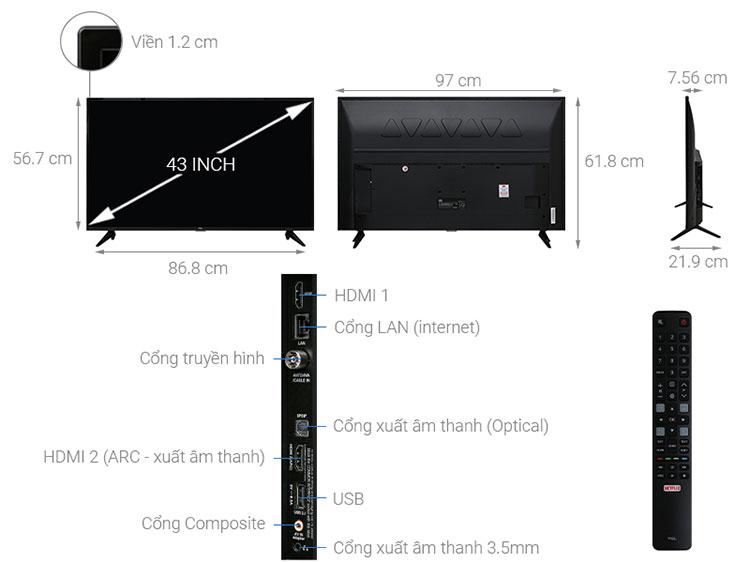 Smart Tivi TCL 4K 43 inch L43P65-UF - Hàng Chính Hãng