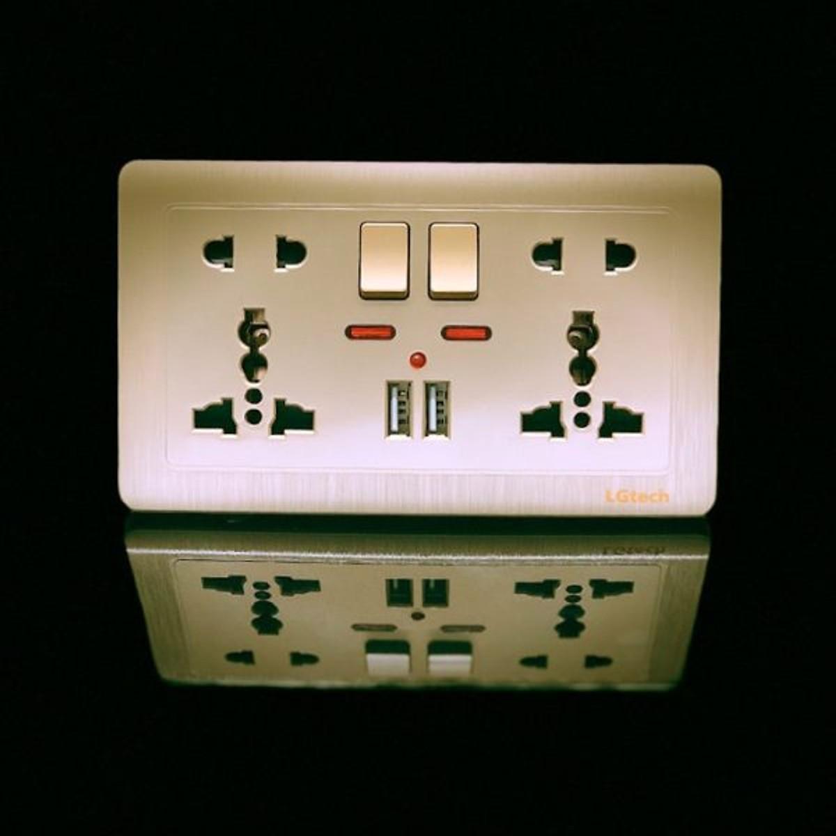 Ổ cắm điện đa năng 2 USB 2 công tắc điện cao cấp kèm đế âm tường | LG-C60-066 - Hàng Chính Hãng