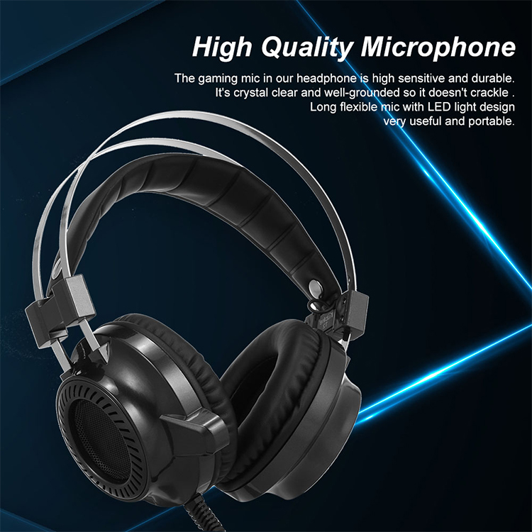 KUBITE T2 Gaming Headphones Stereo Bass Gaming Headset with Microphone LED  Light 3 5mm Wired for Desktop Cpmputer