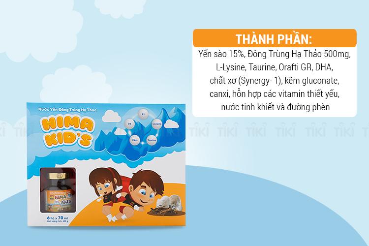 Nước Yến Đông Trùng Hạ Thảo Hima Kid's Hương Cam (6 Hũ x 70ml)