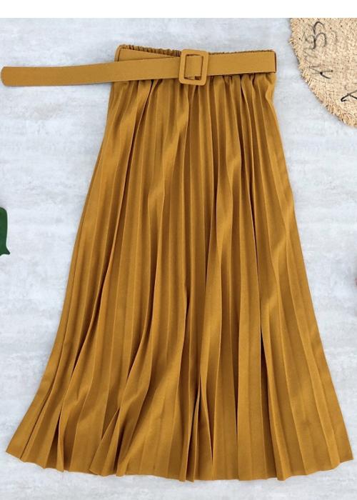 Chân váy xếp ly dáng dài có đai chất vải không nhăn Free size (VAY36) 8