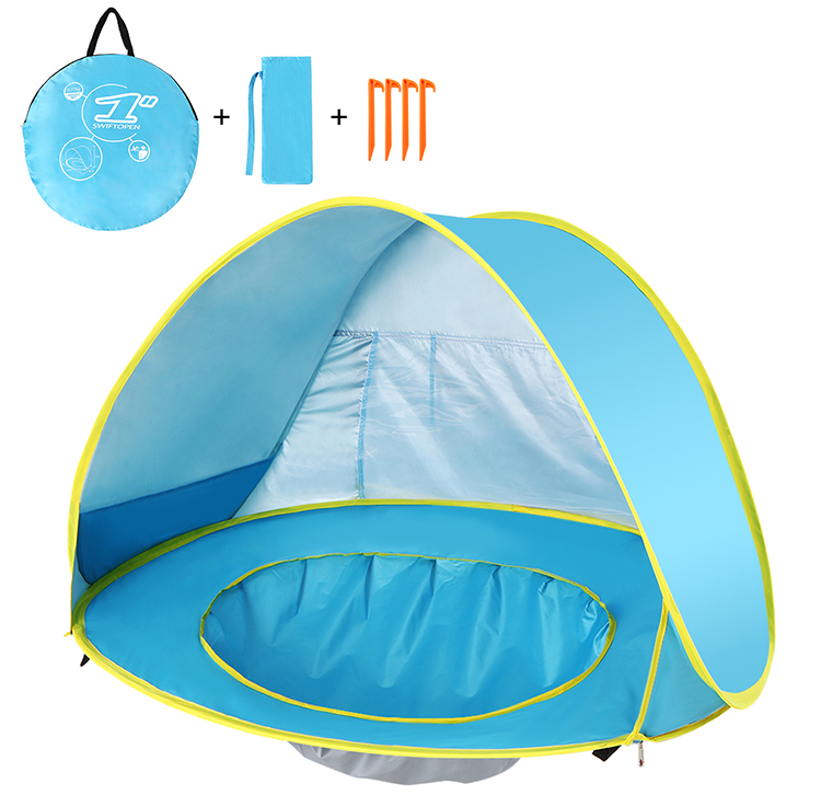 Pop Up Baby Beach Tent Waterproof Anti-UV Sun Shelter with Pool Kids Outdoor Sun Shade Awning Tent