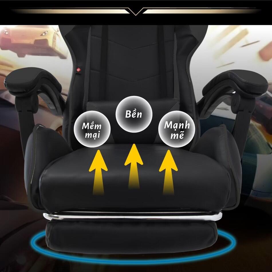 BG Ghế chơi game cao cấp dành cho các game thủ, chân xoay ngã 135 độ Mẫu E02N01 màu đỏ phối đen (Hàng nhập khẩu) 10