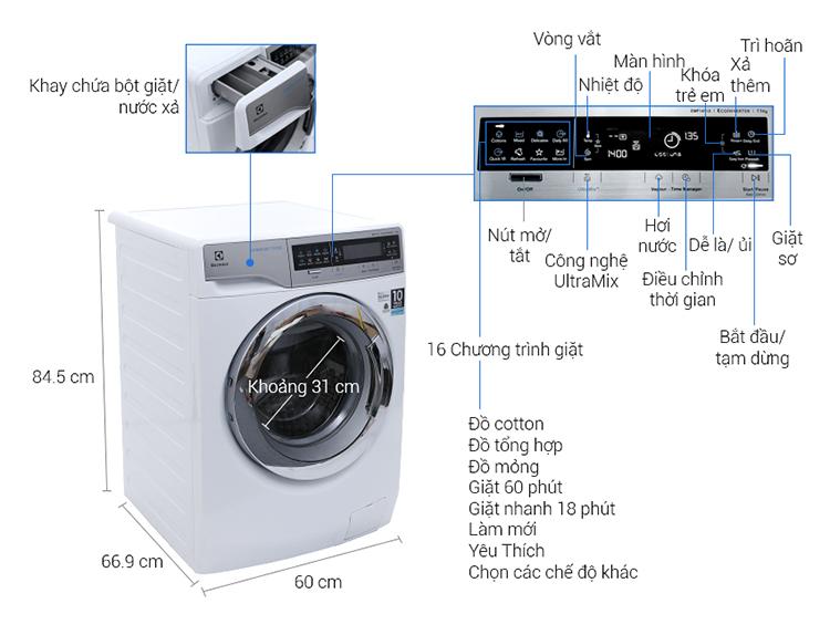 Máy Giặt Cửa Ngang Inverter Electrolux EWF14113 (11.0 Kg) - Trắng - Hàng Chính Hãng