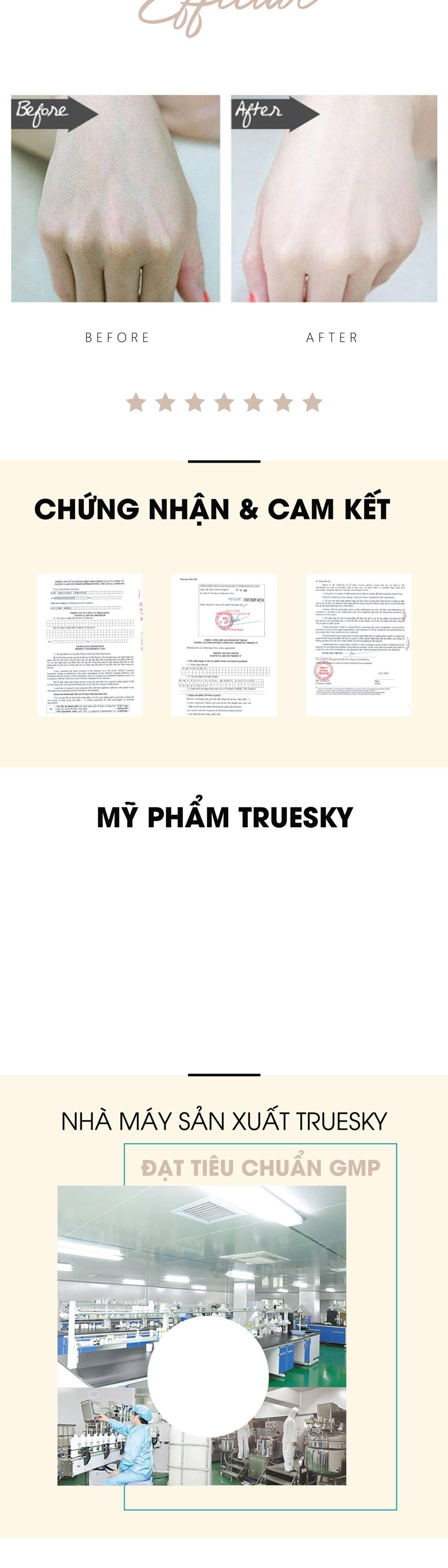 Kem dưỡng trắng da toàn thân Truesky Version 2 dạng lotion thẩm thấu và dưỡng trắng nhanh 100ml - Whitening Body Lotion 5