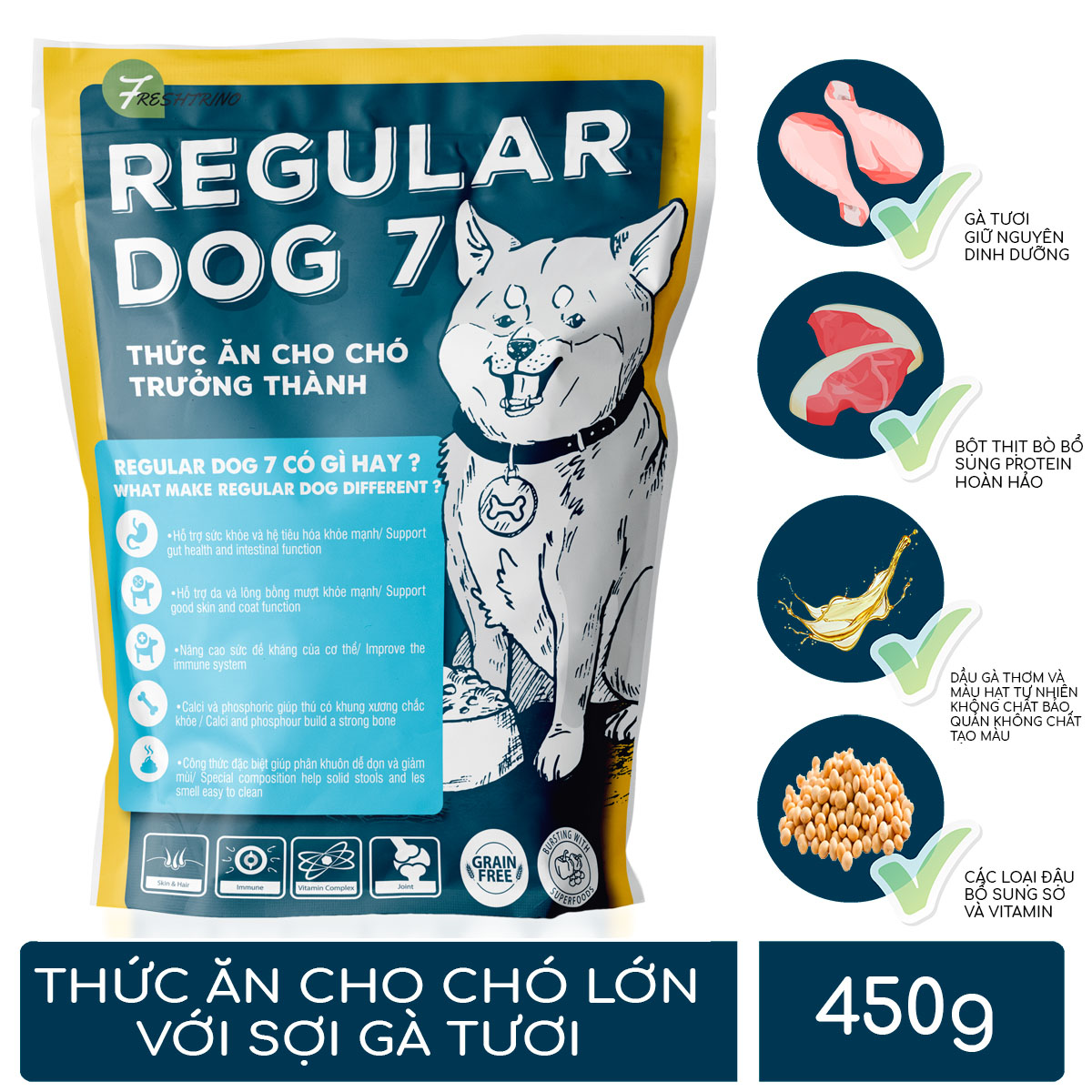 Thức ăn cho chó lớn có sợi gà tươi Regular Dog 7 3